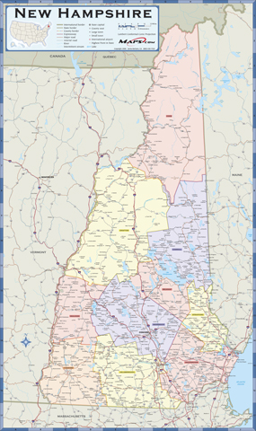 New Hampshire Counties Wall Map