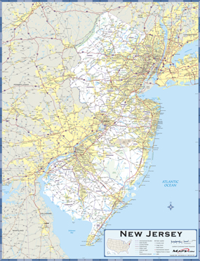 New Jersey Highway Wall Map