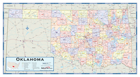 Oklahoma Counties Wall Map