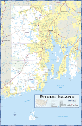 Rhode Island Highway Wall Map