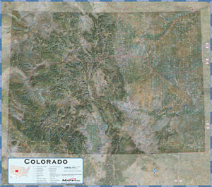 Colorado Satellite Wall Map