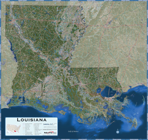 Louisiana Satellite Wall Map