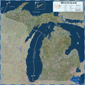 Michigan Satellite Wall Map