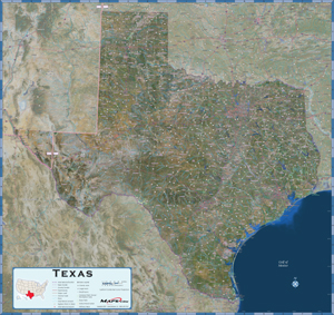 Texas Satellite Wall Map