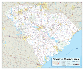 South Carolina Highway Wall Map