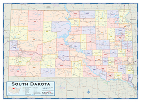 South Dakota Counties Wall Map