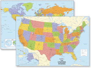 USA &amp; World Wall Map Set 