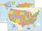 USA & World Wall Map Set
