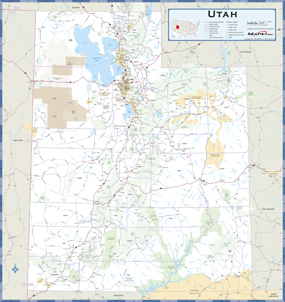 Utah Highway Wall Map