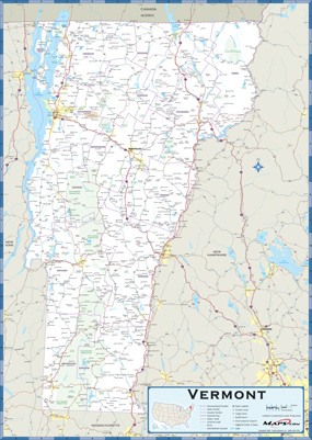 Vermont Highway Wall Map