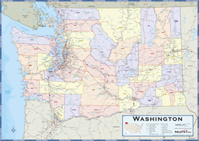 Washington Counties Wall Map