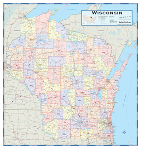 Wisconsin Counties Wall Map