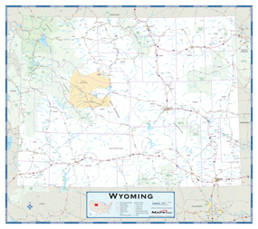 Wyoming Highway Wall Map