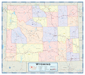 Wyoming Counties Wall Map From Mapscom - Map wyoming counties