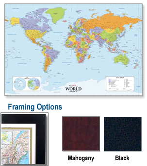 World Deluxe Framed Wall Map