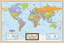 Personalized World Framed Wall Map