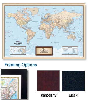 Personalized Antique World Framed Wall Map