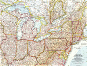Northeastern United States Map 1959