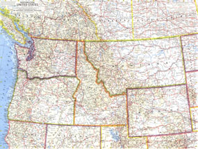 Road Map Of Western United States.Western United States Road Map
