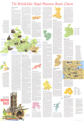 Travelers Map Of The British Isles Map 1974 Side 2