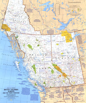 Close Up Canada British Columbia, Alberta And The Yukon Territory Map