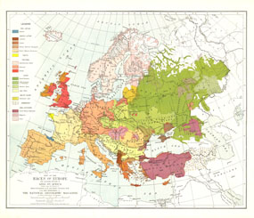 Races Of Europe Map 1918