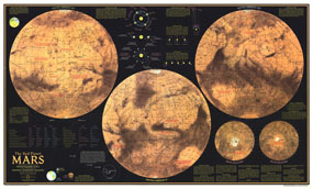 Red Planet Mars Map 1973