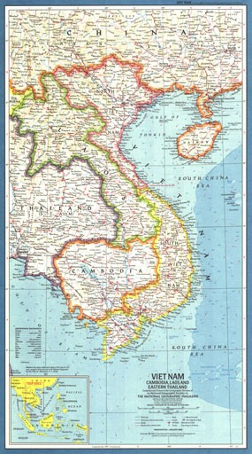 Vietnam, Cambodia, Laos And Eastern Thailand Map 1965. More Views