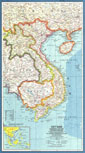 Vietnam, Cambodia, Laos And Thailand Eastern Map 1965