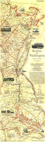 Boston To Washington Circa 1830 Map