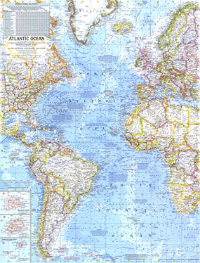 Atlantic Ocean Map 1968