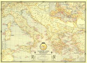Classical Lands Of The Mediterranean Map 1940