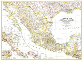 Mexico And Central America Map 1953