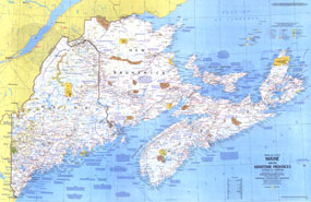 Maine, with the Maritime Provinces 1975 Map