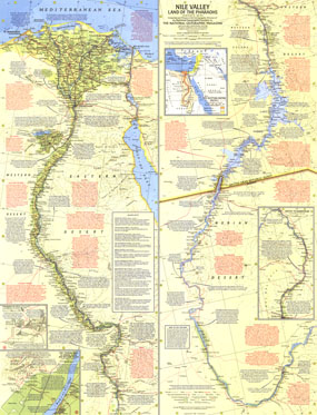 Nile Valley, Land Of The Pharaohs Map 1965