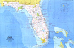 Close Up USA Florida Map 1973