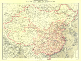 China And Its Territories Map 1912
