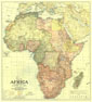 Africa Map 1922 with portions of Europe and Asia