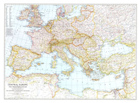 Central Europe And The Mediterranean Map 1939 by National Geographic ...