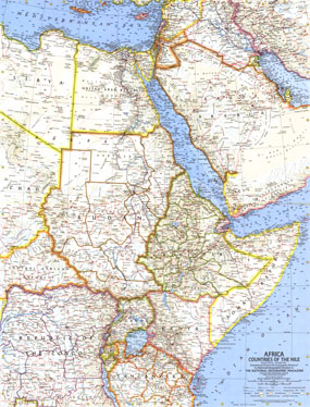 Africa, Countries Of The Nile Map 1963