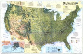 United States, The Physical Landscape Map 1996