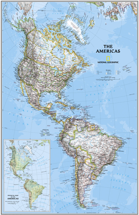 National Geographic North and South America Wall Map