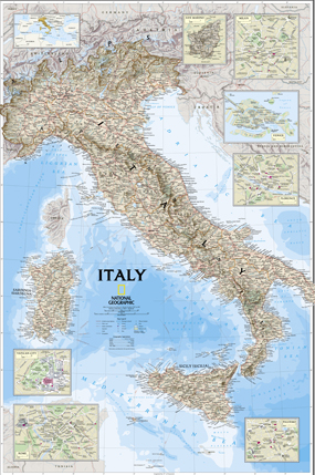 National Geographic Italy Wall Map