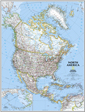 National Geographic North America Wall Map