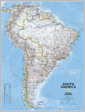 National Geographic South America Wall Map