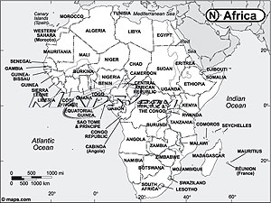 Africa Continent Black & White Outline Digital Map