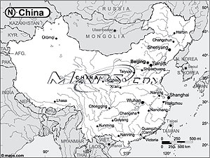 China Black & White Outline Digital Map