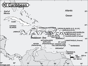 Caribbean Black & White Outline Digital Map