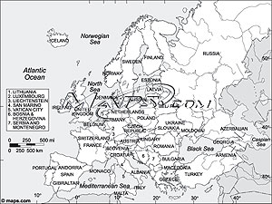 Europe continent black white outline digital map from maps europe continent black white outline digital map gumiabroncs Gallery