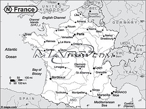 France Black & White Outline Digital Map